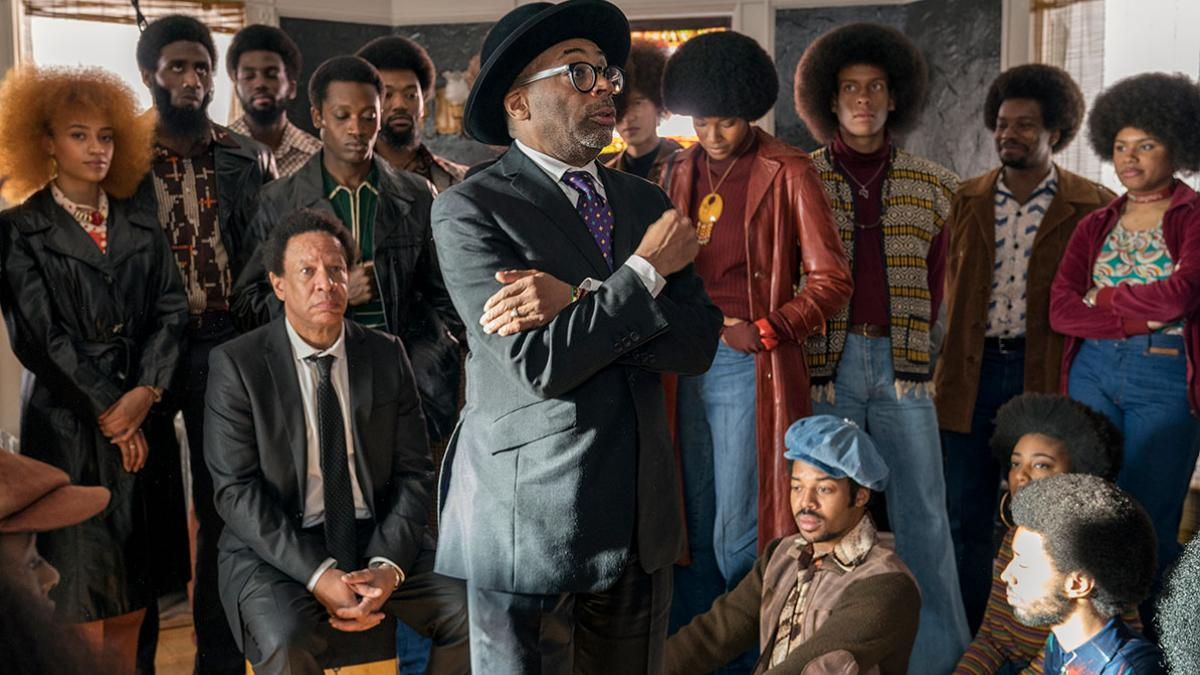 Director Spike Lee gathers the cast of the film